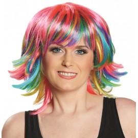 Perruque courte multicolore femme