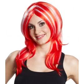 Perruque mi-longue rouge à mèches blanches femme