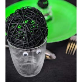 Boules rotin noir 9 cm les 4