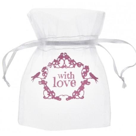 Sachet à dragées vintage with love rose 10 cm les 10