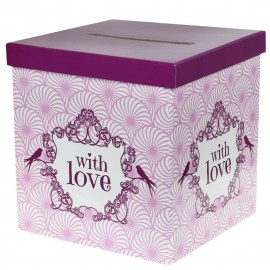 Tirelire vintage with love rose carton 20 cm