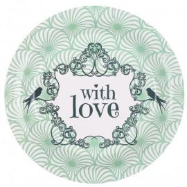 Assiette carton vintage with love menthe 22.5 cm les 10