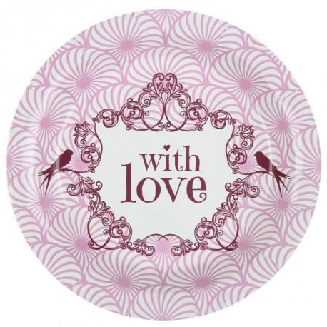 Assiette carton vintage with love rose 22.5 cm les 10