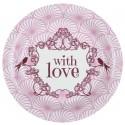Assiettes carton vintage with love rose 22.5 cm les 10