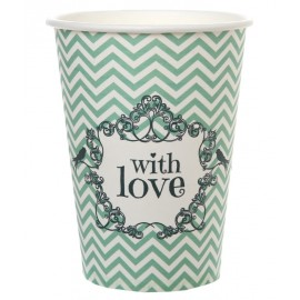 Gobelet carton vintage with love menthe les 10