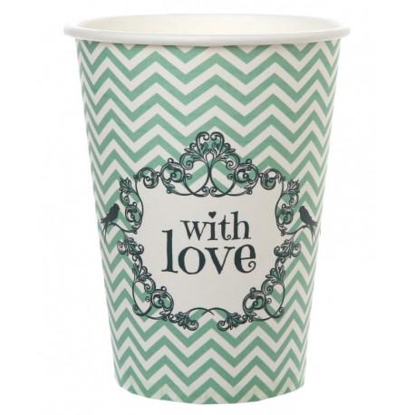 Gobelet carton vintage with love menthe les 10