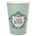 Gobelets carton vintage with love menthe les 10