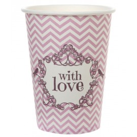 Gobelet carton vintage with love rose les 10