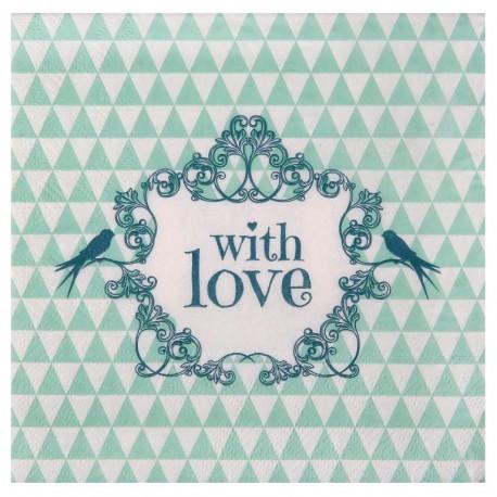 Serviette de table vintage with love menthe papier les 20