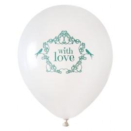 Ballon blanc vintage with love menthe 23 cm les 8