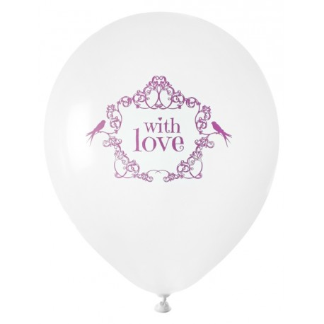 Ballon blanc vintage with love rose 23 cm les 8