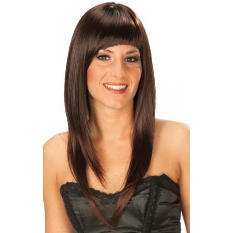 Perruque brune longue à frange femme