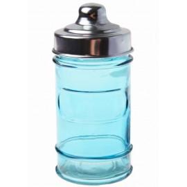 Pot à dragées pharmacie en verre turquoise les 20