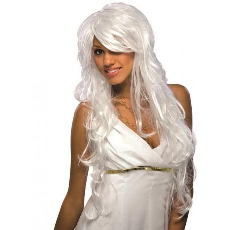 Perruque blanche chic longue femme avec fils argent