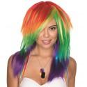Perruque longue multicolore femme