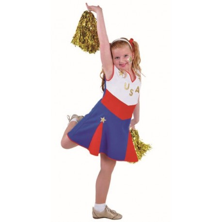 Déguisement cheerleader USA fille pompom girl luxe