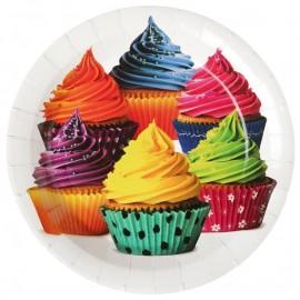 Assiette carton cupcakes 22.5 cm les 10