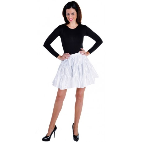 Déguisement jupe courte blanche à volants satin femme