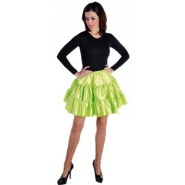 Déguisement jupe courte vert anis à volants satin femme