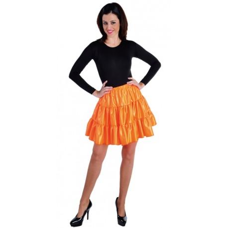 Déguisement jupe courte orange à volants satin femme
