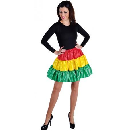 Déguisement jupe courte rouge jaune vert à volants satin femme