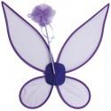 Ailes de fée violettes et baguette de fée adulte et enfant