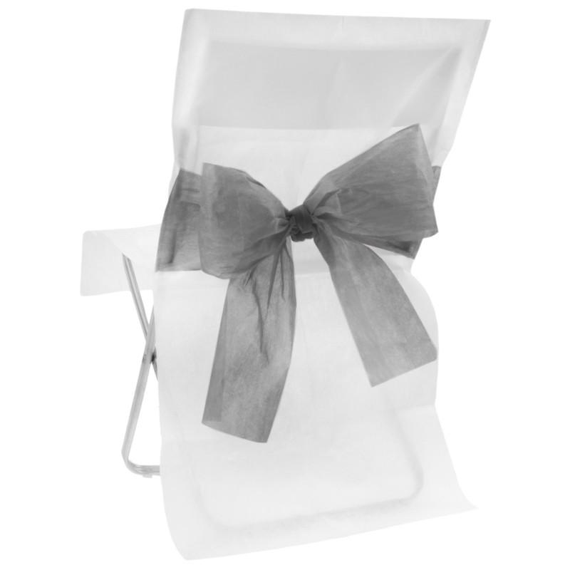 housses de chaise intisse blanc noeud gris les