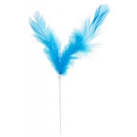 Piques plumes turquoise 8 x 14 cm les 12