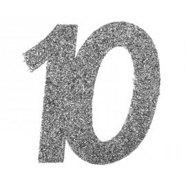 Confettis anniversaire 10 ans argent pailleté les 6