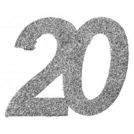 Confettis anniversaire 20 ans argent pailleté les 6