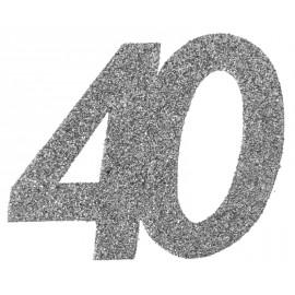 Confettis anniversaire 40 ans argent pailleté les 6