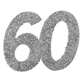 Confettis anniversaire 60 ans argent pailleté les 6