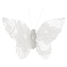 Papillons dentelle blanche sur pince les 4