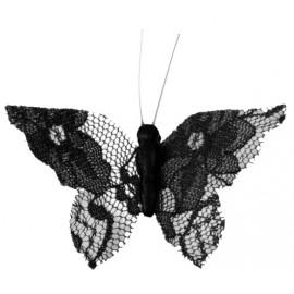 Papillon dentelle noire sur pince les 4