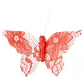 Papillons dentelle corail sur pince les 4