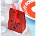 Boîtes à dragées flocon de neige rouge pailleté les 4