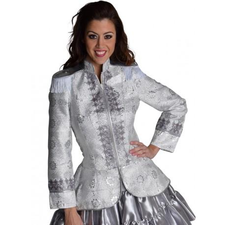 Déguisement veste uniforme brocart argent femme chic luxe