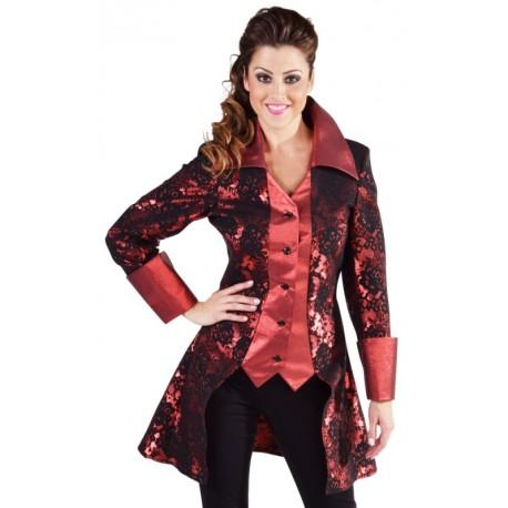 Déguisement manteau brocart rouge femme luxe