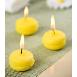 Bougies macaron jaune citron 3.5 cm les 4