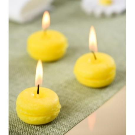 Bougie macaron jaune citron 3.5 cm les 4