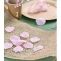 Pétales roses en tissu avec feuilles les 100