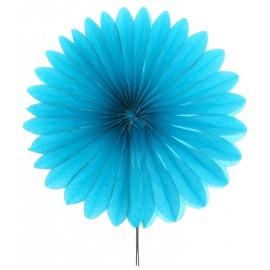 Eventail en papier turquoise 40 cm