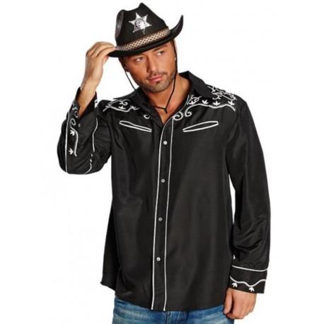 Déguisement chemise country noire homme