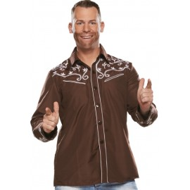 Déguisement chemise country brun homme