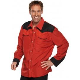 Déguisement chemise cowboy rouge homme