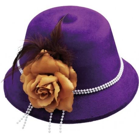 Chapeau charleston années 20-30 femme violet