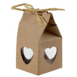Boîte à dragées coeur kraft naturel les 4