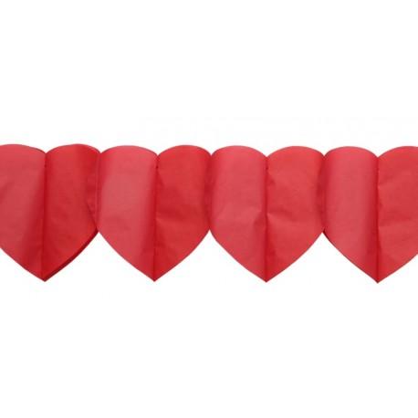 Guirlande coeurs rouges en papier 3.25 M