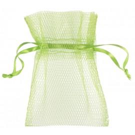Sachet à dragées en tulle vert anis les 10