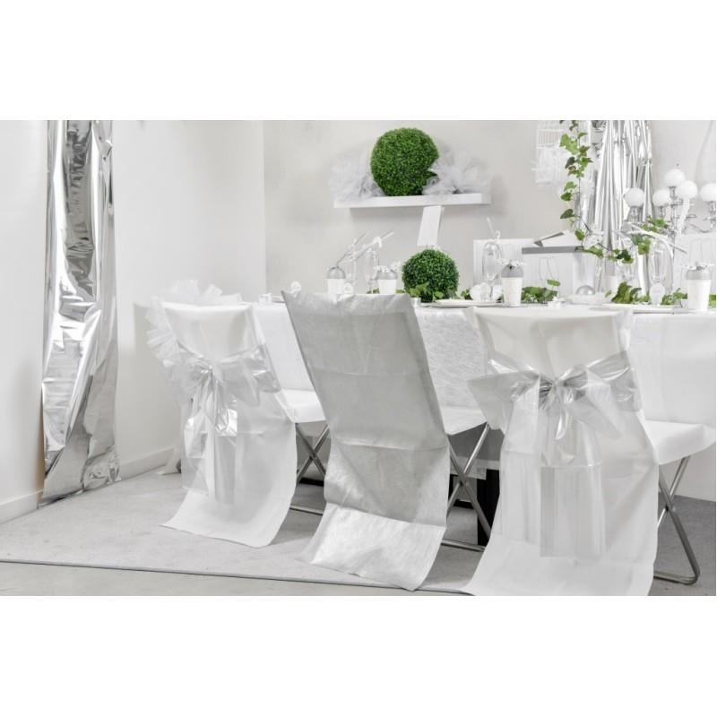 Housse de chaise blanche intiss opaque les 8 for Housses de chaises blanches